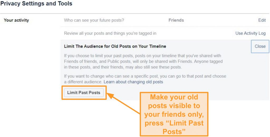 Screenshot of limiting past posts on Facebook