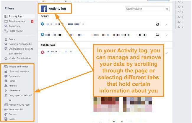 Delete your information found in Activity log