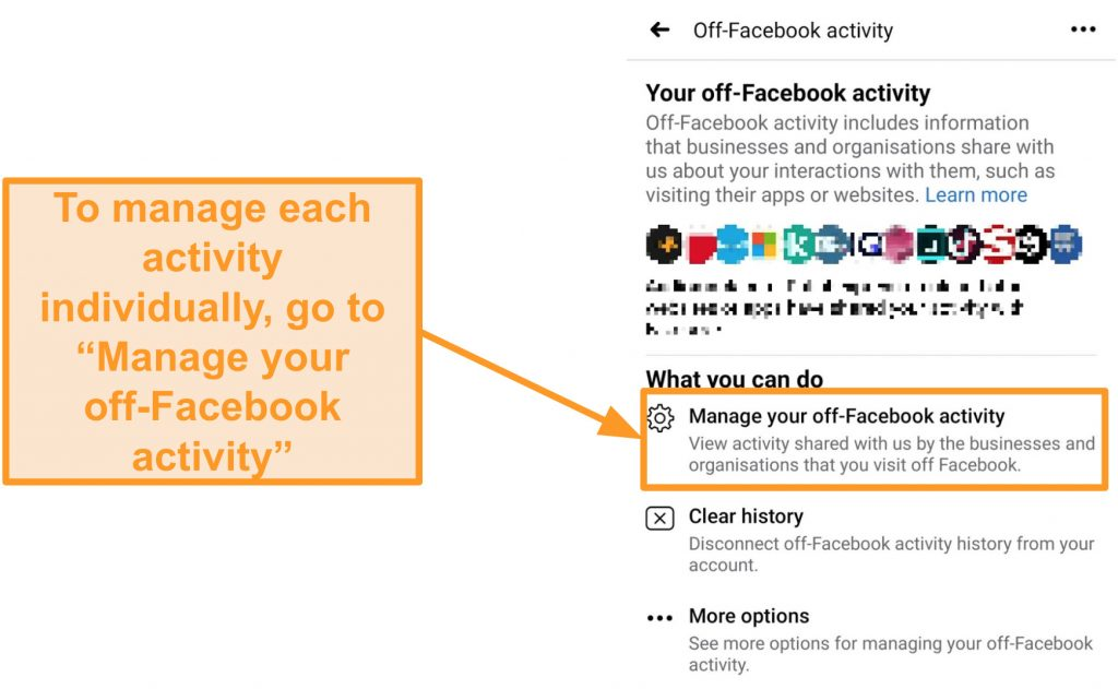 Screenshot of how to manage your off-Facebook activity