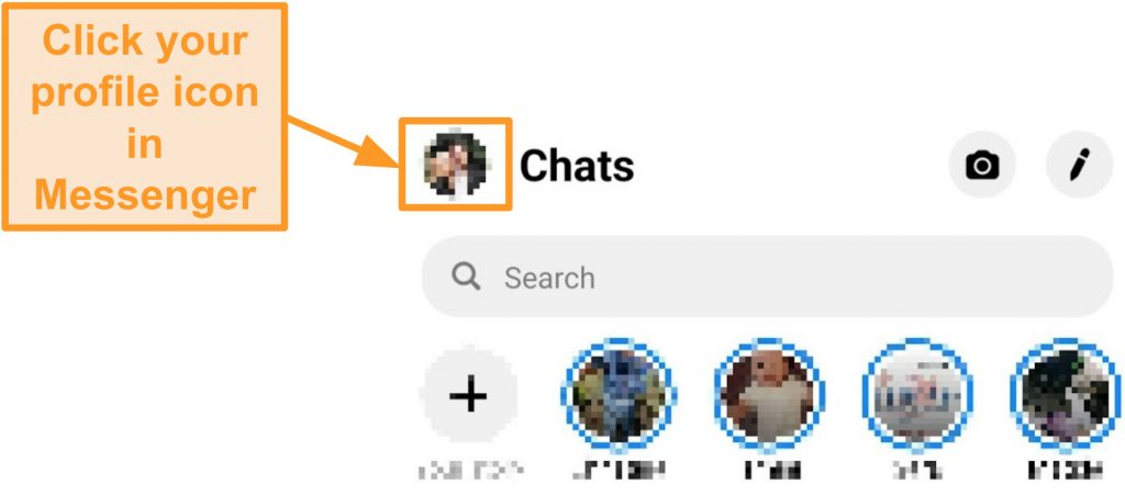 Screenshot of how to access account settings in Messenger