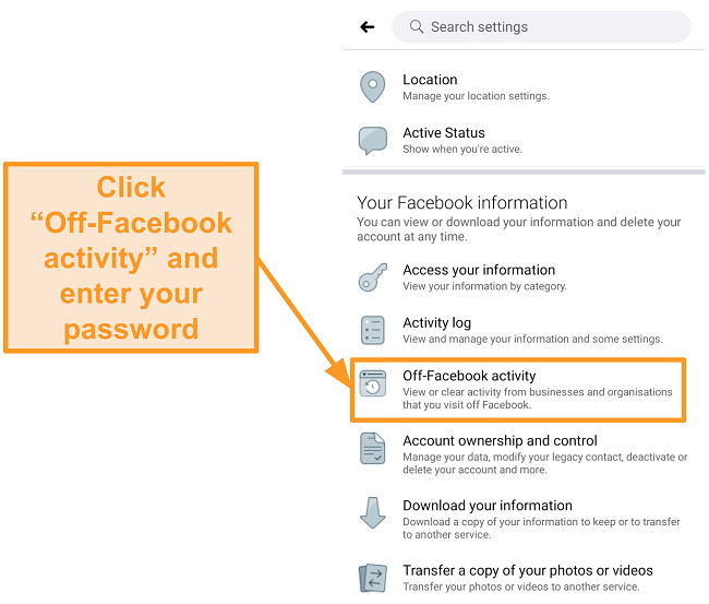 Screenshot of where to find off-Facebook activity settings