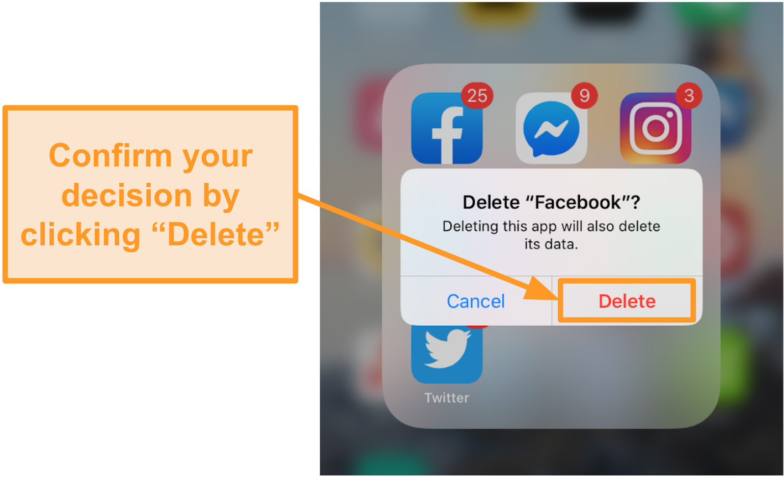Screenshot of deleting the Facebook app on iOS
