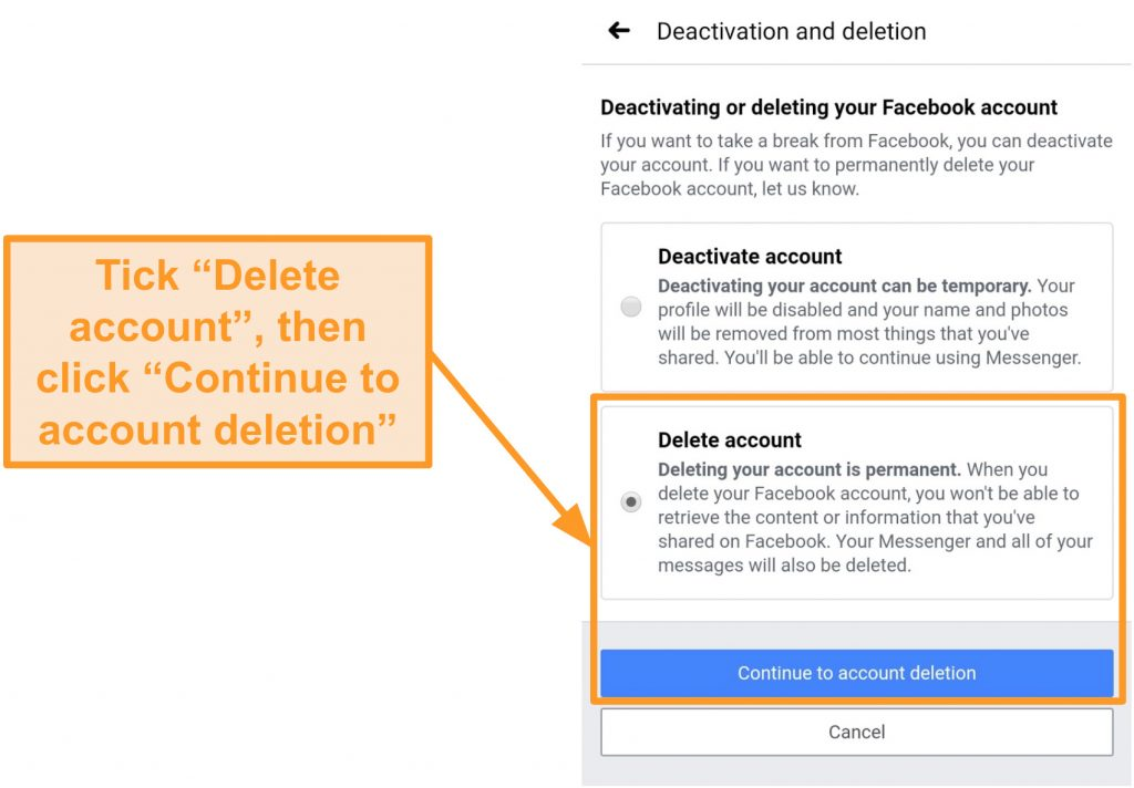 Screenshot of how to continue to account deletion on the mobile app