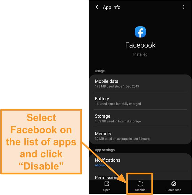 Screenshot of disabling the Facebook mobile app