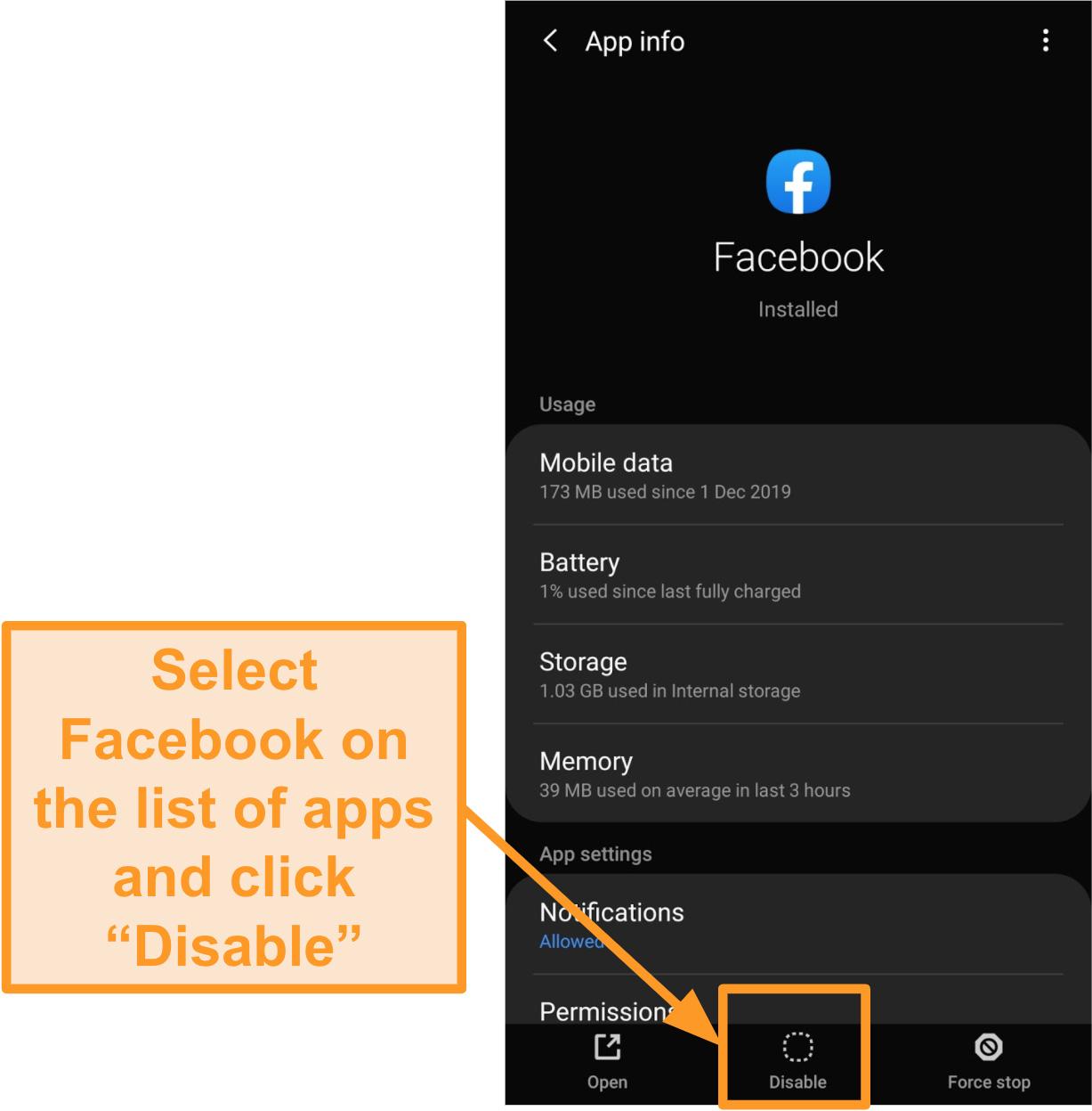 Captura de pantalla para deshabilitar la aplicación móvil de Facebook