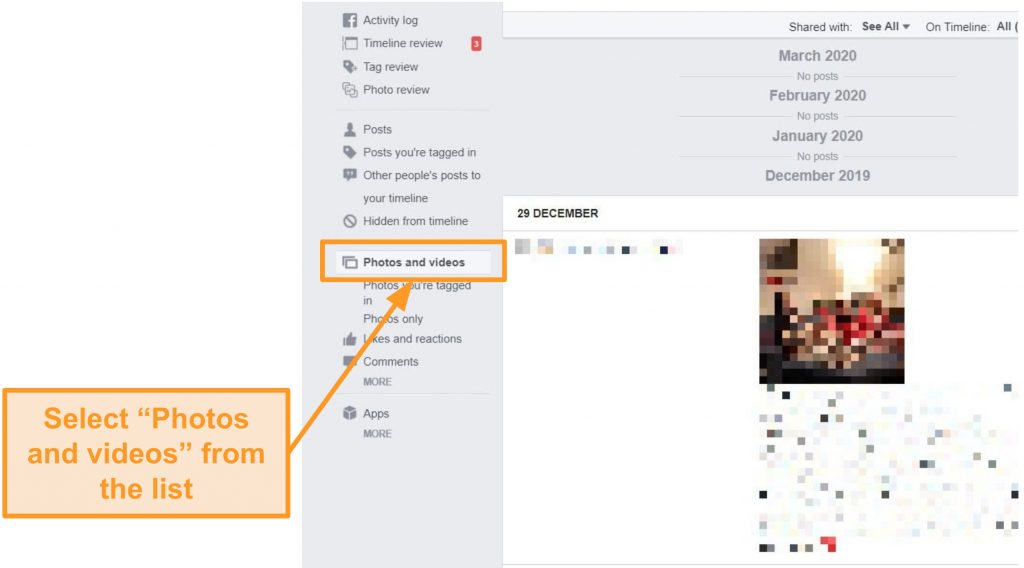 Screenshot of where to find old photos and videos on Facebook