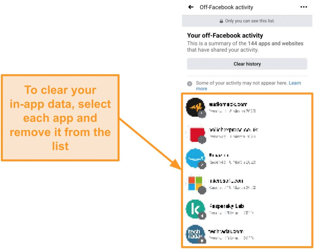 Screenshot of how to remove your data from individual app using the off-Facebook feature