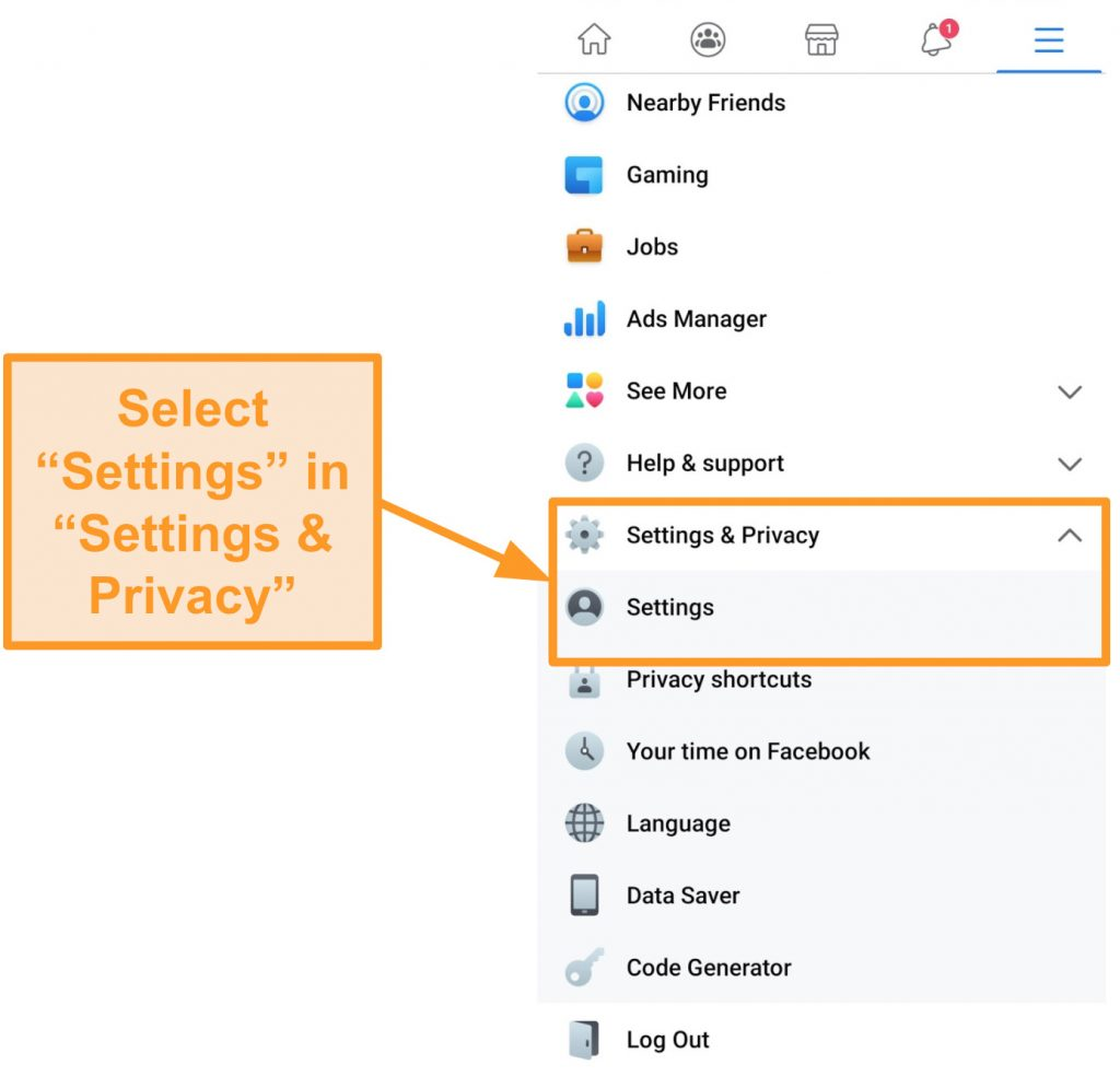 Screenshot of where to find Settings in Facebook app