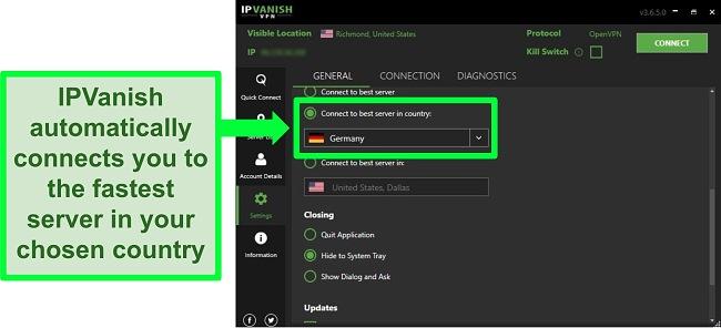 Screenshot of IPVanish's general settings menu in Windows