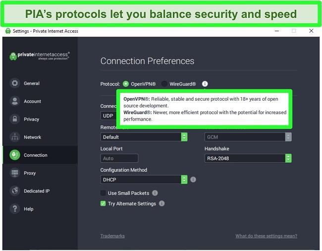 Screenshot of PIA's VPN protocol selection settings menu