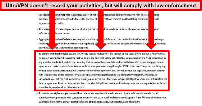 Screenshot of UltraVPN's privacy policy