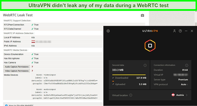 Screenshot of a successful WebRTC test result while UltraVPN is connected to a server in Austria