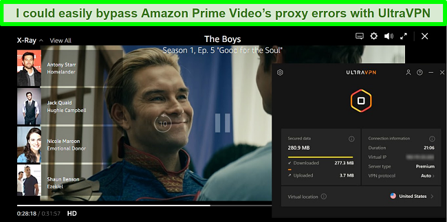 Screenshot of The Boys on Amazon Prime Video while UltraVPN is connected to a server in the US