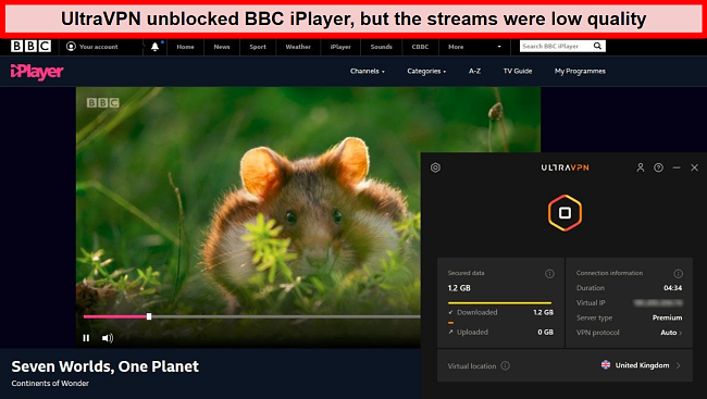 Screenshot of BBC iPlayer unblocked by UltraVPN's server in the United Kingdom