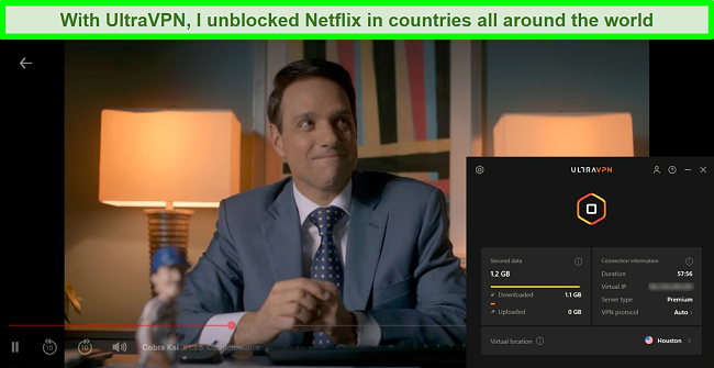 Screenshot of Cobra Kai playing on Netflix while UltraVPN is connected to a server in Houston