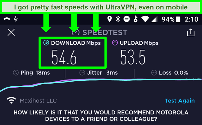 Screenshot of a connection speed test while UltraVPN is connected on an Android device