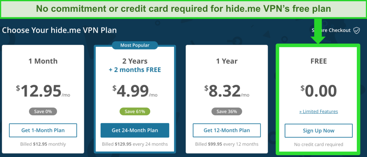Screenshot of hide me VPN's free and paid plans on the website