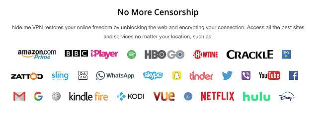 Screenshot of hide me VPN's website and the list of streaming services and apps it can unblock