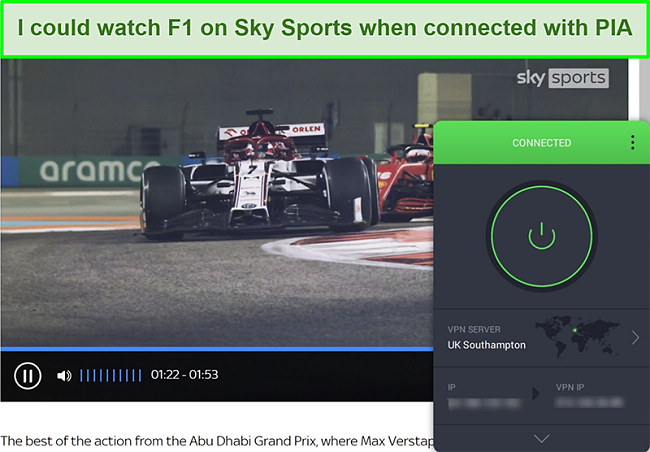Screenshot of Formula 1 highlights while connected to the Southampton server of PIA