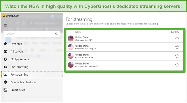 Screenshot of CyberGhost's dedicated streaming servers that can access the NBA Playoffs.