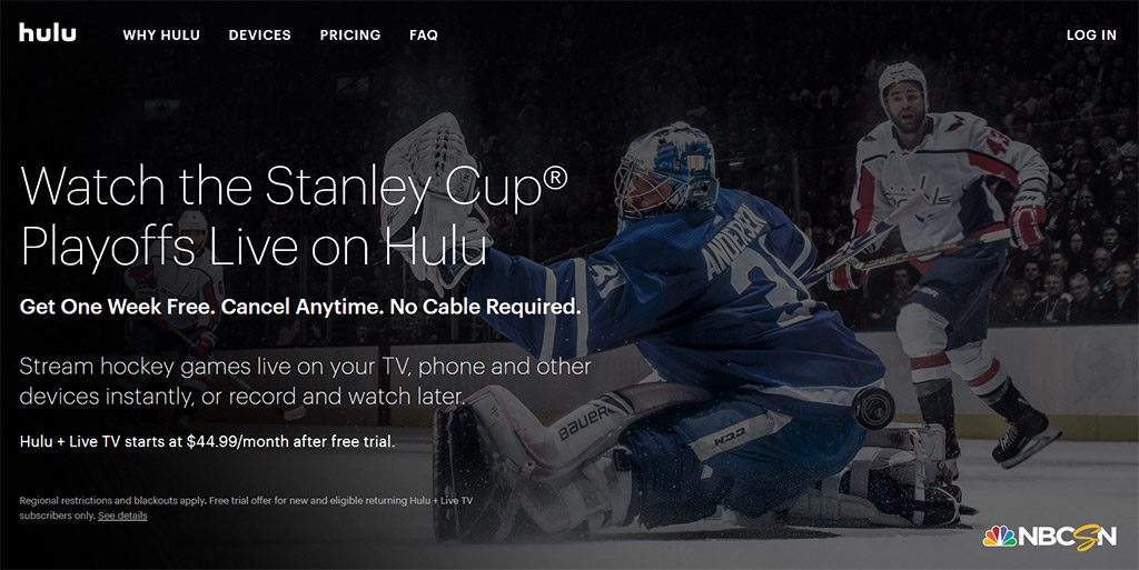 Hulu Live TV Stanley Cup Finals online