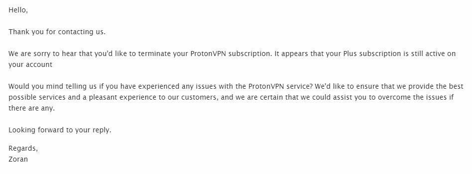 Proton VPN email 1