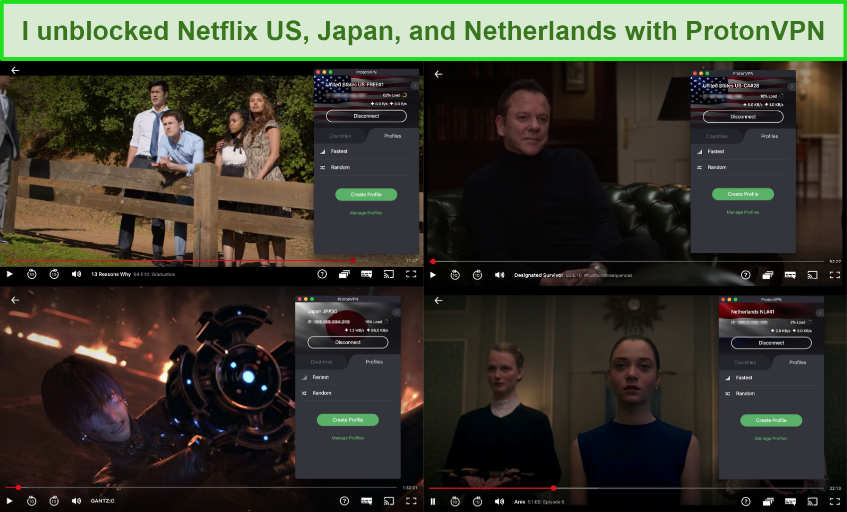 Screenshots of ProtonVPN accessing Netflix US, Japan, and Netherlands