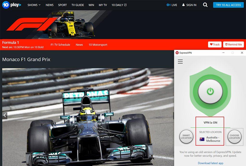 TenPlay watch Monaco Grand Prix