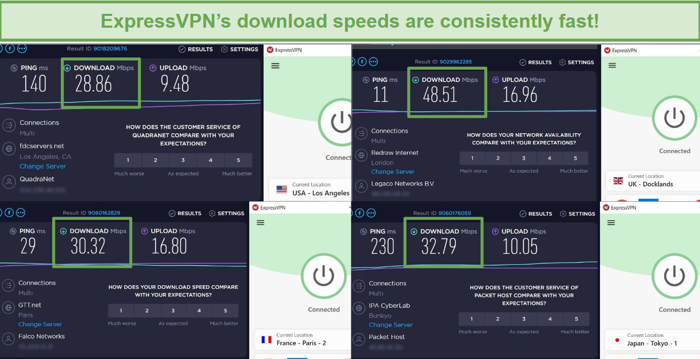 Screenshot of ExpressVPN speed tests.