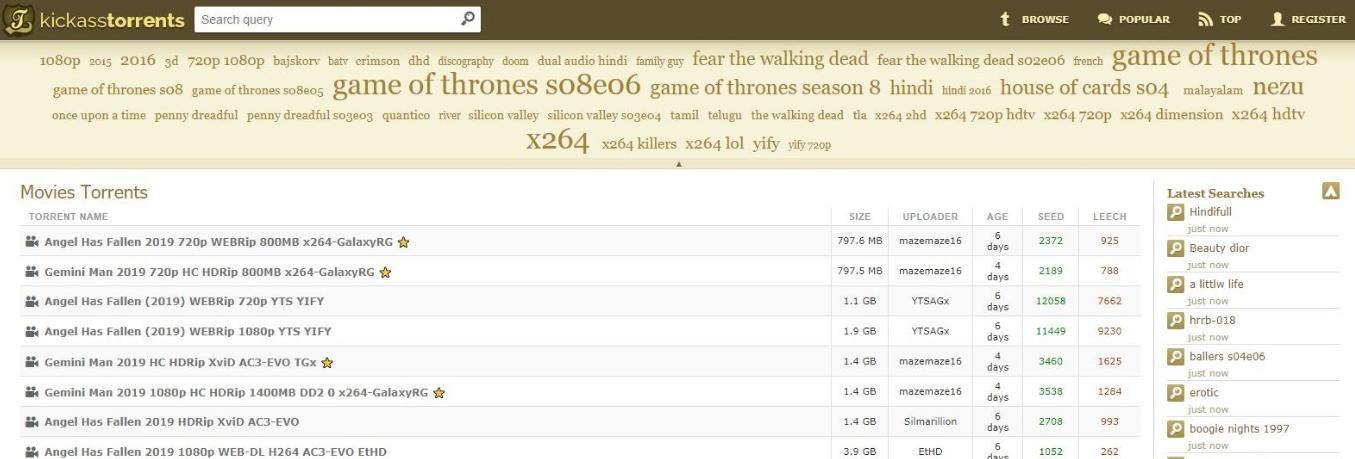 Screenshot of Kickass Torrents landing page.