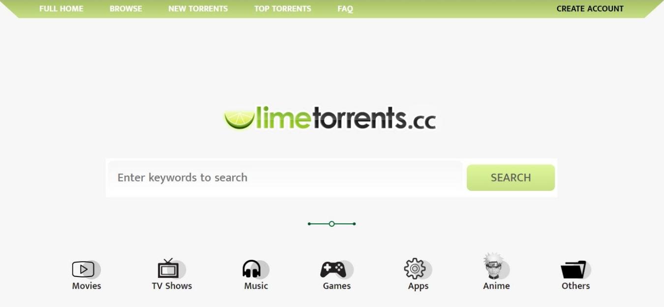 Screenshot of LimeTorrents landing page.