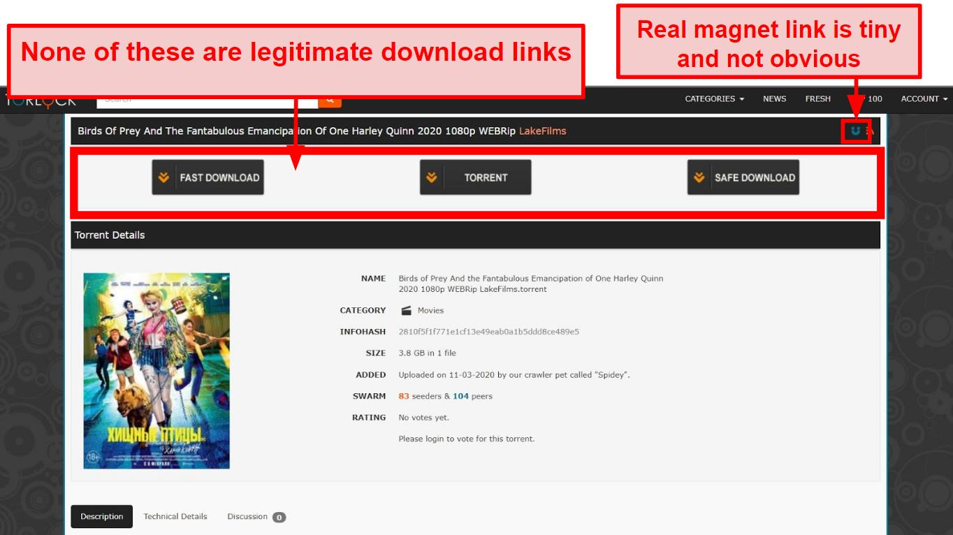 Screenshot of fake links on TorLock.