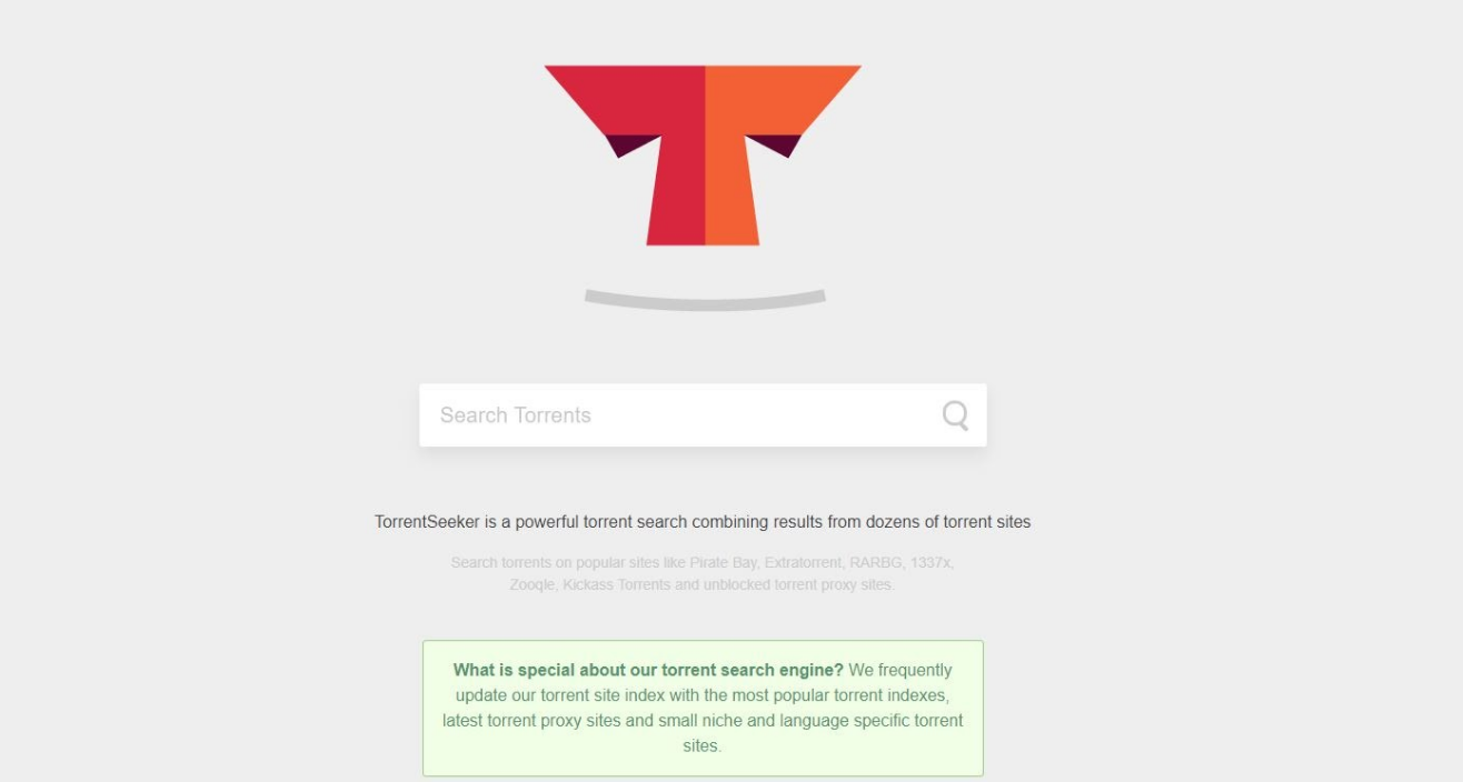 Screenshot of TorrentSeeker landing page.