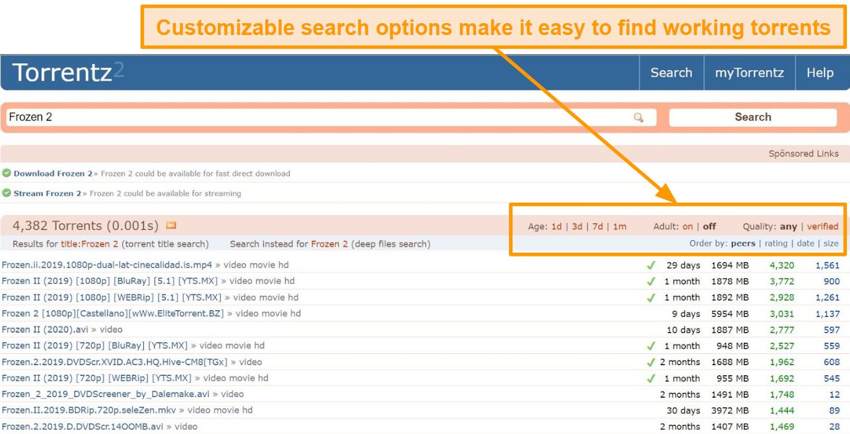 Screenshot of Torrentz2 customizable search options.