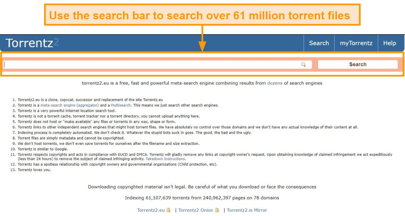Screenshot of Torrentz2 landing page.