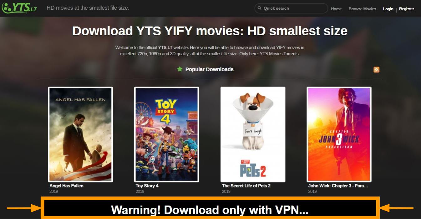 Screenshot of YTS landing page.