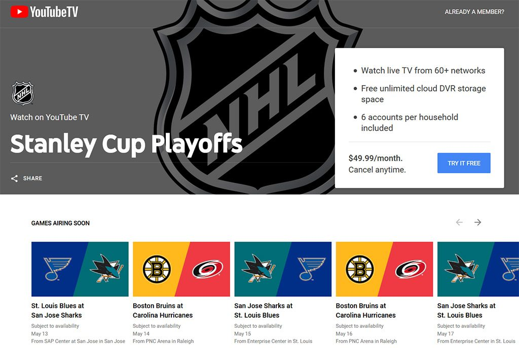 YouTube TV Stanley Cup Finals watch online