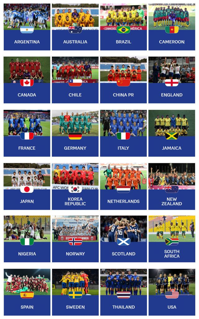 2019 Women's World Cup Teams