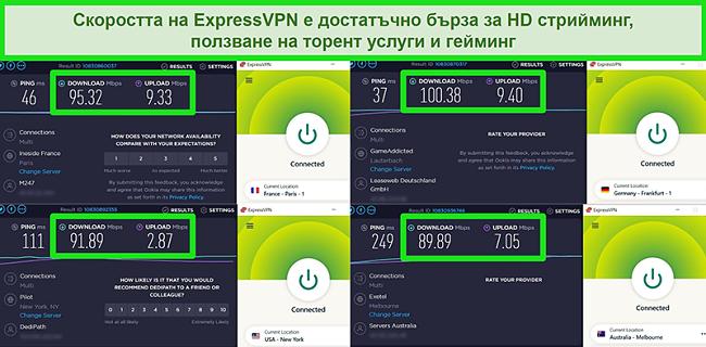 Снимки на резултатите от теста за скорост на ExpressVPN при глобално свързване към различни сървъри