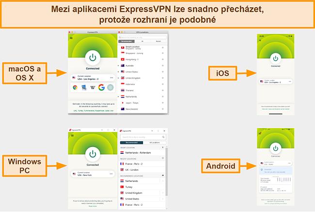 Screenshot z rozhraní aplikací ExpressVPN pro Windows, Android, Mac a iPhone