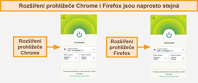 Screenshot z rozšíření prohlížeče ExpressVPN pro Google Chrome a Mozilla Firefox
