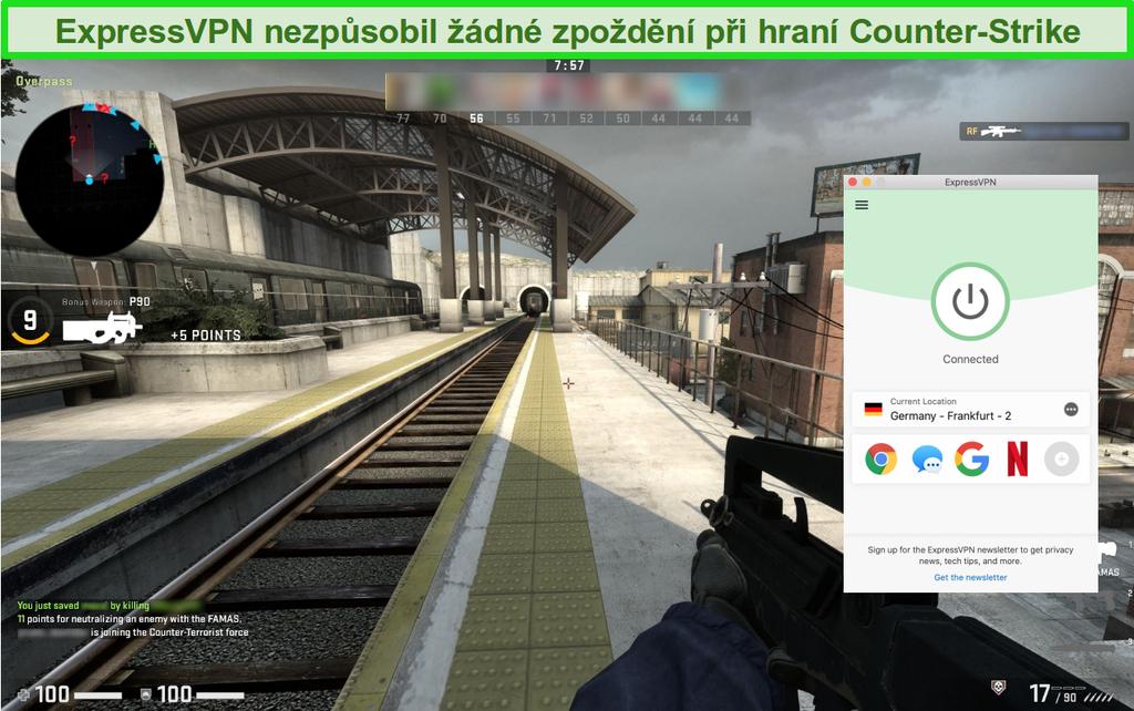 Screenshot z Counter-Strike: Global Offensive online hry při připojení k ExpressVPN