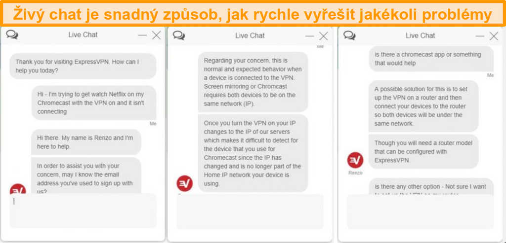 Ukázka živého chatového rozhovoru se zástupcem zákaznického servisu ExpressVPN