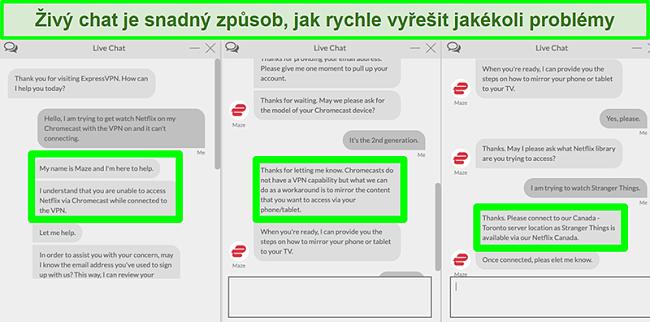 Screenshot uživatele, který kontaktuje ExpressVPN přes live chat 24/7 a ptá se, jak sledovat Netflix s Chromecastem