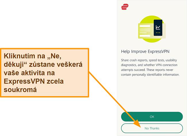 Screenshot aplikace ExpressVPN žádající o svolení uživatele ke sdílení zpráv o selhání, testu rychlosti a dalších uživatelských dat se společností