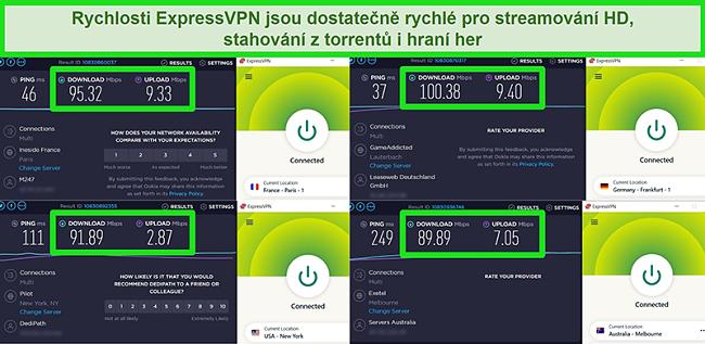Screenshoty s výsledky testu rychlosti ExpressVPN při globálním připojení k různým serverům
