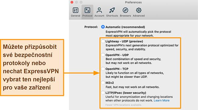 Screenshot aplikace ExpressVPN zobrazující všechny dostupné protokoly včetně Lightway, OpenVPN, IKEv2 a L2TP / IPsec