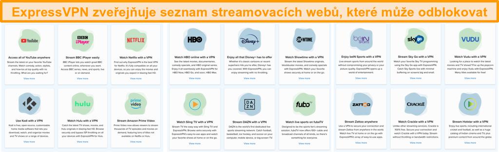 Snímek obrazovky webu ExpressVPN se seznamem všech streamovacích služeb, které může odblokovat, včetně Netflix a BBC iPlayer