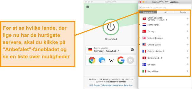 Skærmbillede af ExpressVPN-appen, der viser anbefalede servere
