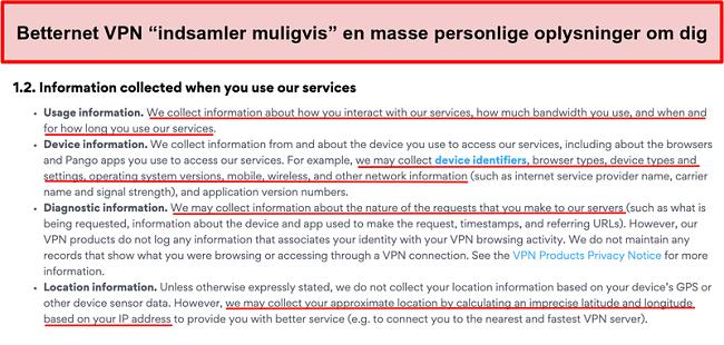 Skærmbillede af Betternet VPN fortrolighedspolitik